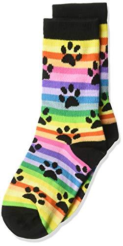 - K. Bell Girls' Big Fun Novelty Crew Socks, Black (Rainbow Paw), Shoe Size: 7.5-13