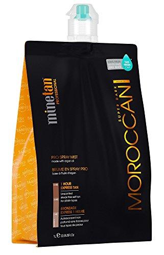 MineTan Spray Tan Solution - My Moroccan Pro Spray Mist - Argan Oil Enriched Salon Professional 1 Hour Express Tan, 33.8 fl oz (Best Tanning Solution Australia)