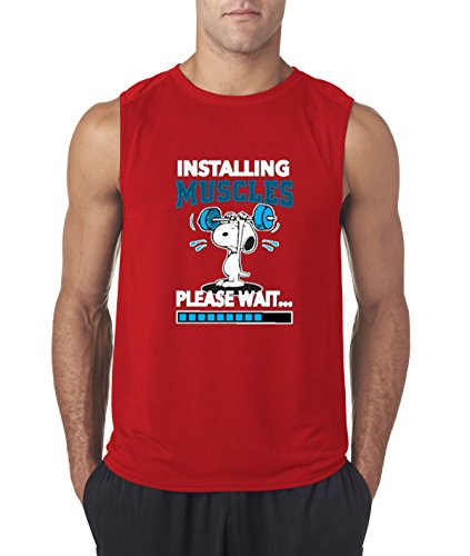- New Way 433 - Men's Sleeveless Installing Muscles Please Wait Snoopy Peanuts Workout Training Gym Medium Red