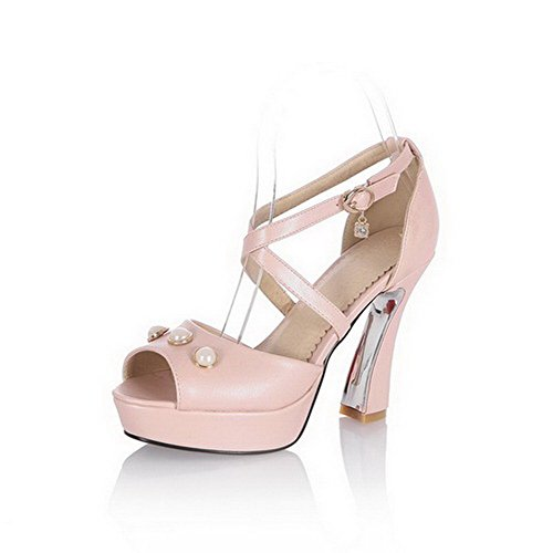Buckle Sandals Pink Peep Heels PU Women's High AgooLar Toe Solid xOqRgn7