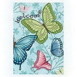 Evergreen Butterfly House (Large Welcome Butterflies Spring House Flag Decorative Double Sided 28