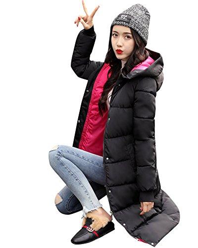 Calde Womens Dianshao Invernali Lungo Con Outwear Cappuccio Rosa Cappotti Stampa Giacche Riempito qqESa