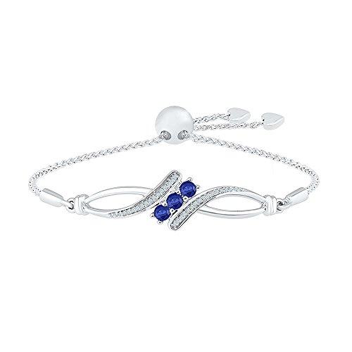 925 Sterling Silver White Round Diamond & Round Blue Sapphire Adjustable Bolo Bracelet (Sapphire White Blue Bracelet)