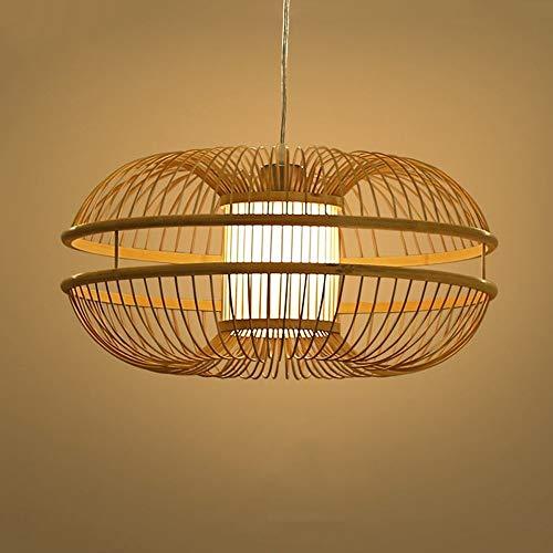 HZC Antique Handmade Bamboo Chandelier Pendant Lamp Retro Ceiling Lighting Fixture Hanging Light for Living Room Bedroom Restaurant Bar Club