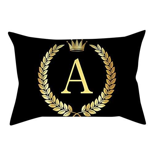 - JUSTnowok Home Pillowcase,Black and Gold Letter Pillowcase Throw Pillow Covers Sofa Cushion Cover Home Decor 18x18 Inch 45x45 cm