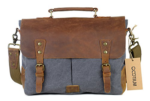 "Gootium Canvas Leather Messenger Bag - Vintage Briefcase 14"" Laptop Shoulder Bag, Grey, Medium"