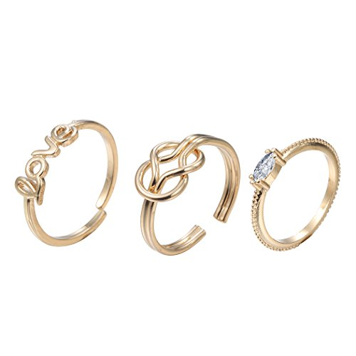 Chengxun Handmade Statement Midi Ring Sets Love Knot Crystal Knuckle Finger Jewelry for Girlfriend