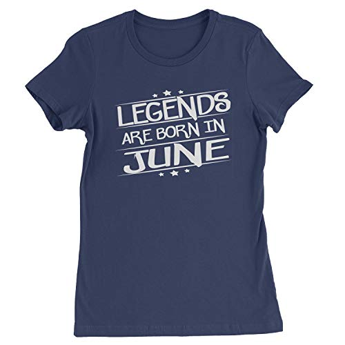 Legends Are Born Womens in June T-Shirt Small Navy Blue
