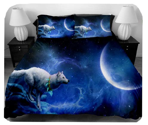 Youth Fashion 3D Printing and Dyeing Wolf Three-Piece Set Soft Luxury Youth 100% Polyester Shell Fully Without Insert (Full)