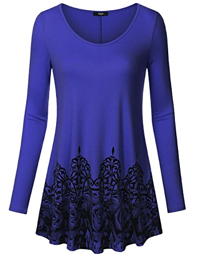 Laksmi Womens Swing Tunic Tops Loose Fit Comfy Flattering T Shirt, Long Sleeve Round Neck, RBU - Triathlon Cheap Clothing
