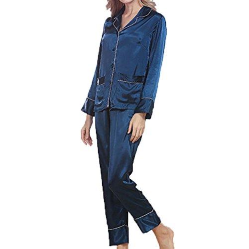 YUYU Verano Mujeres Seda de imitación Pijamas Solapa La manga larga Pantalones Juego de dos Cuatro colores , navy , xl