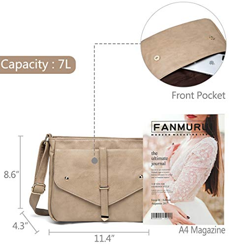Purse for Handbag Apricot Fashion Shoulder Crossbody VASCHY Bag Vegan Bags Leather Women Zx6U8