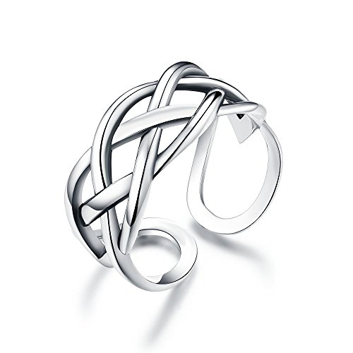 (Celtic Love Knot Vintage Ring Sterling Silver Adjustable Antique Rings Open Engagement Band for Women Girls Men (Four Lines))