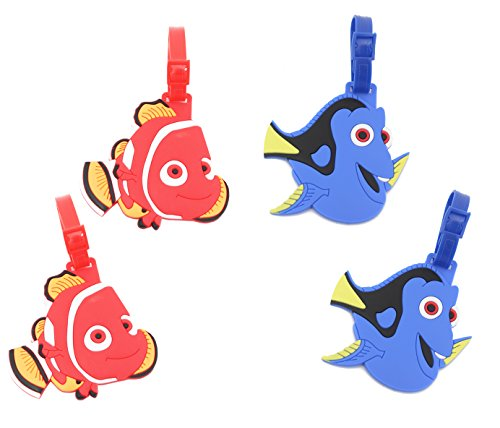 Finex - Set of 4 - Finding Nemo Finding Dory Travel Luggage Tags Bag Tag Adjustable Strap