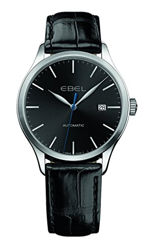 Ebel Classic 100 Automatic Black Dial Black Leather Mens Watch