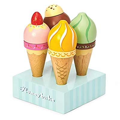 Le Toy Van - Educational Wooden Toy Honeybake Colourful Wooden Ice Cream Cones | 5 Pieces - Great Role Play Gifts for A Boy Or Girl - 2+ Years: Toys & Games