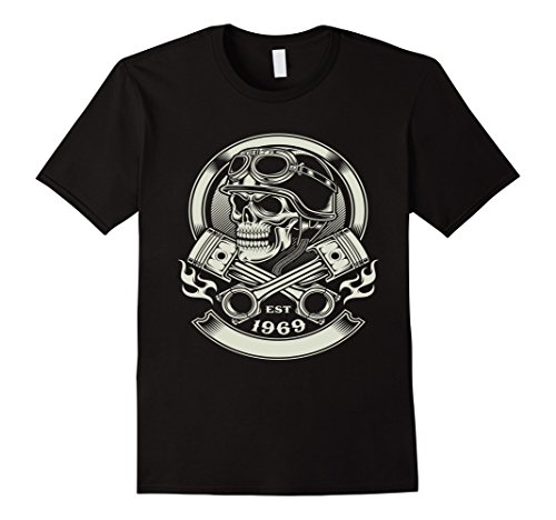 Mens Skull Motorcycle Shirt Biker Helmet Goggles Flames Bike 1969 Large - Goggles Nyc