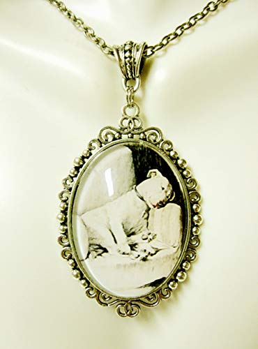 Sweet sleeping pit bull by Cecil Aldin pendant and chain - DAP09-639