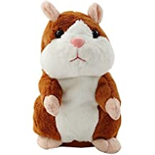 YOOMUN Talking Hamster Repeats What You Say Electronic Pet Talking Plush Buddy Mouse for Kids--Electronic Pet Talking Record Plush Toys Educational Toy for Children Gift (Brown)