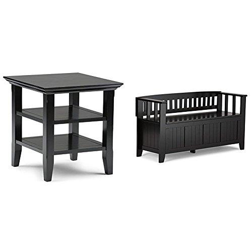 Simpli Home Acadian End Table, Black + Simpli Home Acadian