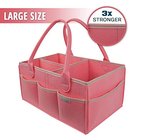 Diaper Caddy for Baby Room Décor and Nursery Storage Bin | Portable Backseat Car Organizer | Girl or Boy Baby Shower Gift Basket Registry Must Have Hamper (Pink)