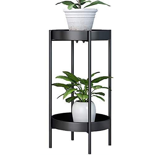 ZEETOON Modern Tall Plants Stand, Potted Plant Display Rack Holder Black Metal Shelf 2 Round Tray Set, Sturdy Flowers Pot Base for Indoor Outdoor Home Decor Fit Up-to 12 Inch Planter