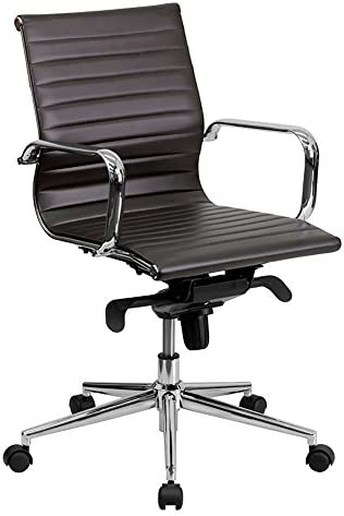 Flash Furniture Mid-Back Brown Ribbed LeatherSoft Swivel Conference Office Chair