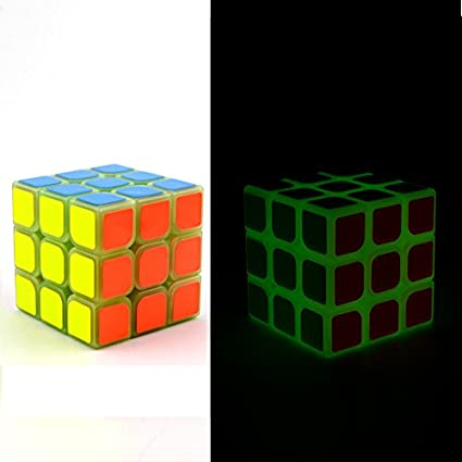 FunBlast Glow in Dark Magic Cube Puzzle Toy, 3x3x3 Sticker-Less Speed Cube Smooth Magic
