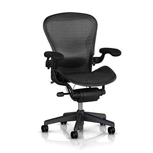 Herman Miller Classic Aeron Task Chair: Highly Adj w/Lumbar Pad - Tilit Limiter w/Seat Angle Adj - Fully Adj Vinyl Arms - Carpet Casters (Renewed)
