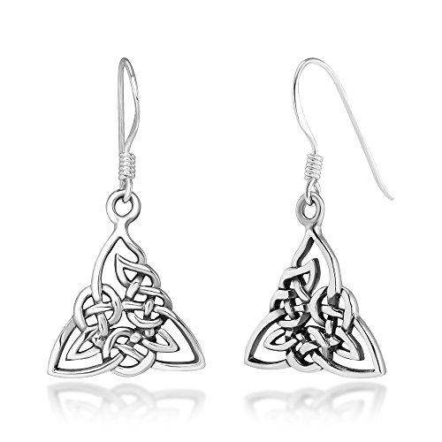 (925 Sterling Silver Trinity Knot Triangle Celtic Symbol Weaving Dangle Hook Earrings, 30 mm)