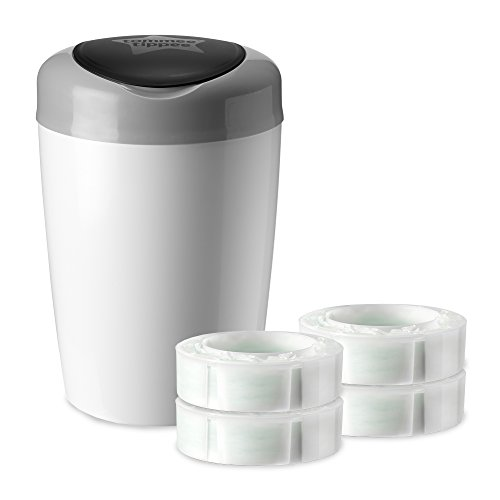 Tommee Tippee Simplee Diaper Pail Starter Set, Blocks Odor, Antibacterial, Holds 18 Diapers, 4 Refills Cartridges, Grey