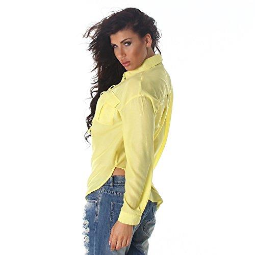 Voyelles camisa de las señoras blusa de la camisa blusas túnica de manga larga cuello suéter túnica blusa Uni amarillo
