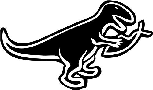 (BEARGRAPHIX T-Rex Eating Jesus Fish Decal Sticker Car Motorcycle Truck Bumper Window Laptop Wall Décor Size- 6 Inch Wide Gloss Black Color)