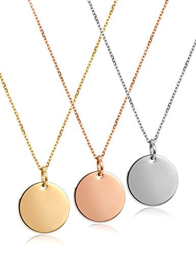 (JINBAOYING Initial Necklace Circle Necklace Gold Plated | Minimalist Necklace with Round Disc Pendant Necklaces )
