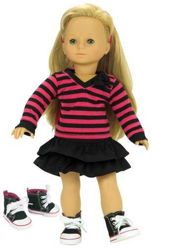 - Fits American Girl Dolls 3 Pc. Set of 18 Inch Doll Clothing, Fun Black/Hot Pink Striped Shirt, Black Skirt, & Doll High Tops