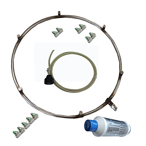 Fan Mister - Stainless Steel Misting Ring with Calcium Inhibitor Filter - Includes Misting Nozzles - Push Lock Connection - Do It Yourself (15 Inch 6 Nozzles Ring)
