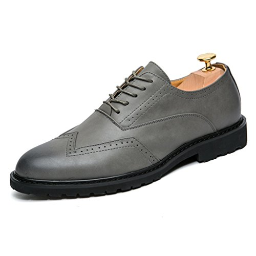 PU Talon Loisir Gris Derby Métallique Antidérapant Bloc Hommes Cuir Mocassins Chaussures Pointu Vernis en Bout Rivet Semelle txgxwqAR