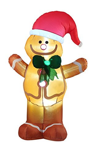 VIDAMORE 8FT Tall Christmas Inflatable Gingerbread Man Lawn Yard Garden outdoor Decoration - Inflatable Lawn Decoration