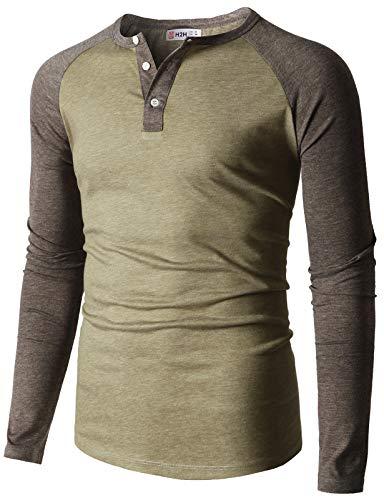 (H2H Mens Casual Slim Fit Raglan Baseball Long Sleeve Henley T-Shirts HEATHERBEIGE US S/Asia L (CMTTL0108))