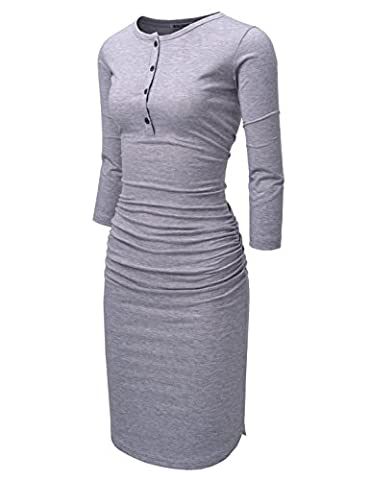 NEARKIN (NKNKWMD721) Womens Figure Hugging Shirred 3/4 Sleeve Henley Midi Dress GRAY US L(Tag size (Midi Cotton Dress)