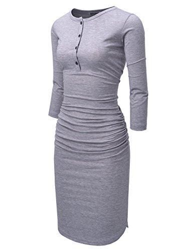 NEARKIN (NKNKWMD721) Womens Figure Hugging Shirred 3/4 Sleeve Henley Midi Dress GRAY US XXS(Tag size XS) by NEARKIN