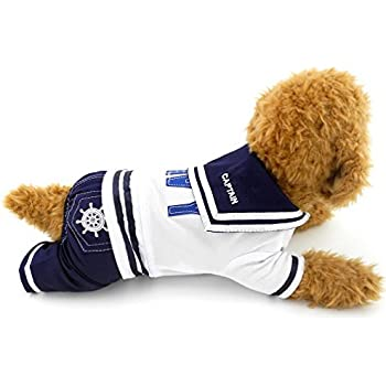 SELMAI Navy Sailor Captain Costume Four Legged Dog Jumpsuits M,for Small Dog Cat Puppy Pet