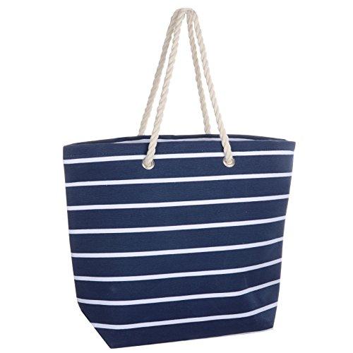 Ladies Stripe Canvas Beach Shoulder Bag Tote Shopping Reuseable Handbag Navy