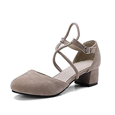 BalaMasa Womens ASL06432 Bandage Comfort Buckle Apricot Imitated Suede Block Heels - 2.5 UK (Lable:34)