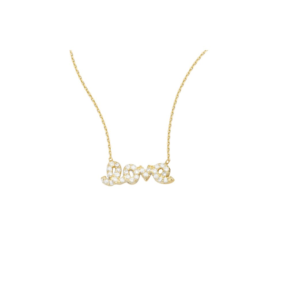 LOVE NECKLACE, 14KT GOLD & CZ NECKLACE 18'' INCHES