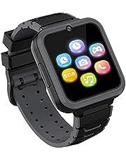 Smartwatch-telefon för pojkar flickor med HD-pekskärm, smartklocka för barn med spel musikspelare tvåvägssamtal SOS ficklampa miniräknare inspelare väckarklocka, födelsedagspresenter för 3-12 år (svart)