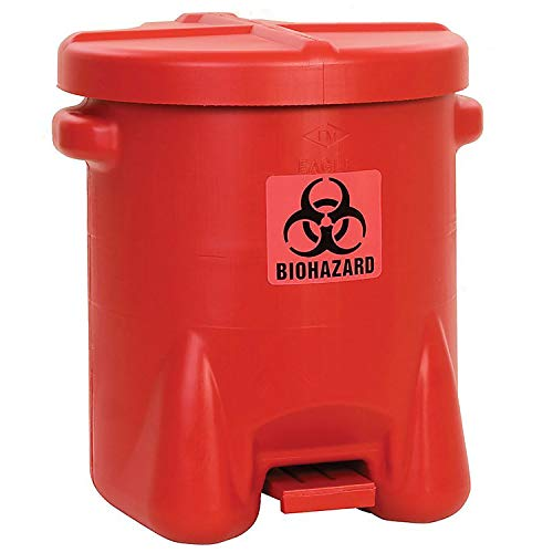 (14 Gallon Safety Biohazardous Waste Can, Red, Lot of 1)