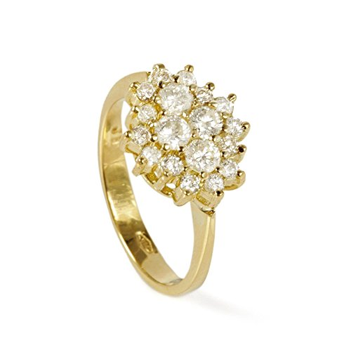 Affordable 1 Ctw cluster flower Shaped Diamond Engagement Ring for women in 14k Gold Diamond main stone 0.6 Ct Side stones 0.4 -