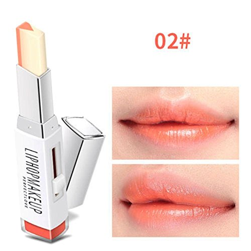 hermosotodo Hot Sale Moisturizing Waterproof Two Tone Lipstick Lipgloss Duo Lip Balm Gradient ()
