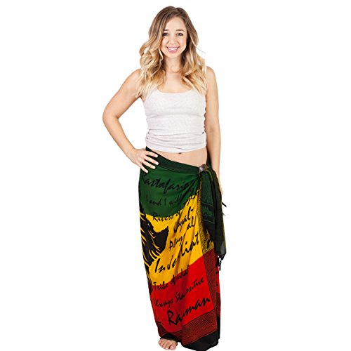 (Women's Rasta Lion Beach Pool Wrap Cover Up Sarong-Rasta A-One Size)